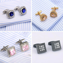 Top quality Crystal Cufflinks French Shirt Cuff Links Opal Cufflings 18 Style lawyer gift cuffs(China)