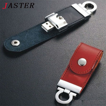 JASTER fashion leather usb flash drive fur key chains pendriver 8gb 32gb commercial memory stick 4gb 16gb gift  gifts