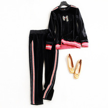 New 2017 women's velvet suit Euro-American fashionable popular casual pair of trousers and pullover with embroidery for autumn(China)