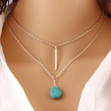 2017 Fashion Bohemia Blue stoneLong Double Chain Pendant Necklace Punk Classic Summer Body Chain Necklaces Jewellery Women