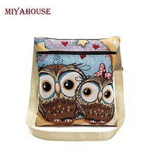 Miyahouse Embroidery Women Shoulder Bags Cartoon Owl Printed Messenger Bag Female Canvas Small Crossbody Bag bolsos mujer