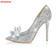 Women Shoes Rhinestone High Heels cinderella primiere stunning glasses shoes silver crystal wedding shoes jeweled glittering(China)