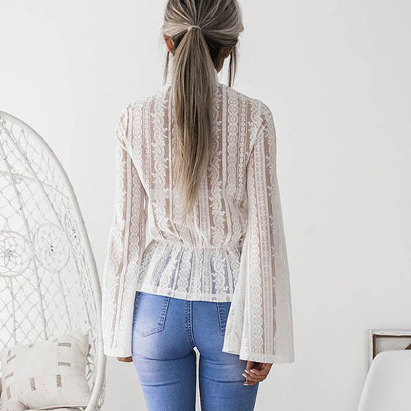 DeRuiLaDy 2018 Women Lace Blouse Shirt Elegant Flare Sleeve Long Sleeve Sexy Transparent Shits Casual Stand Chiffon White Tops 7