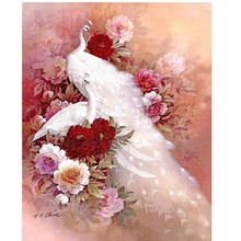 Animals Mosaic DIY diamond Painting crystal white peacock 3D Cross Stitch Decorative diamond embroidery square Rhinestone CX584(China)