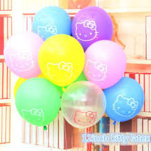 10pcs/lot 12 Inch Hello Kitty Latex Balloons Kitty Cat Baby Girl Birthday Party Decoration Kids Cheap Latex Balloons For Wedding(China)