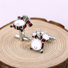 Fancy 3D Red White Drum Cufflinks For Men Shirts High Quality Musical Instrument Metal Cuff Link Boyfriend Gift Whoelsale