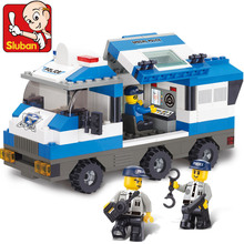 Educational toy 3d plastic city police command vehicle model building kits assembled block children creative gift 1set