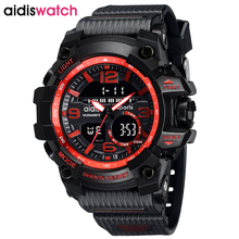 aidiswatch Luxury Brand Shock Men Military Sports Watches Digital LED Quartz Wristwatches Rubber Strap Relogio Masculino Watch
