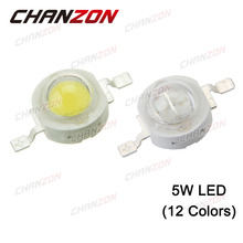 CHANZON 10pcs LED 5W Natural Cool Warm White Red Blue Green Yellow Light Lamp Chips 5 W Watt Integrated High Power COB Bulbs