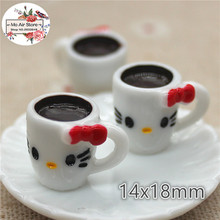 Hello kitty cup 3D 10PCS resin Flat back Cabochon Miniature Food Art Supply Decoration Charm Craft(China)