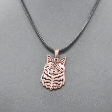 Sykesha 2017 Women Rope Chain Rose Gold Maine Coon Cat Necklaces Lovers' Jewelry Alloy Cat Necklaces Retail Drop Shipping(China)
