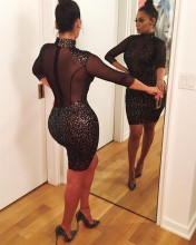 2017 Women See Through Dresses Patchwork Sequin Casual Style Black Vestidos Sexy Club Wear Party Night Club Dress Femme Robe