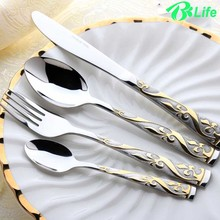 4pcs Dinner Knives Cutlery Set Stainless Steel Gold Plated Flower Dinnerware Eco-friendly Dinner Service