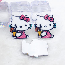 Kawaii KT cartoon flat back planar resin Hello Kitty Figurine Home decoration craft DIY phone shell  hair Bow accessories