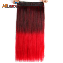 "Alileader 5 Clips On Hair Extension Heat Resistant Best Japanese Kanekalon Synthetic Fiber 22"" 56Cm 120Gr Straight Clip In Hair"