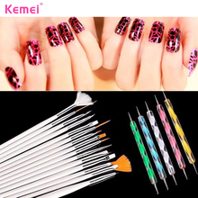 Kemei 20 Pcs Nails Art Tool Polish Drawing Brushes Marbleizing Desires Dotting Tools Patinting Pens For Nail Design Manicure