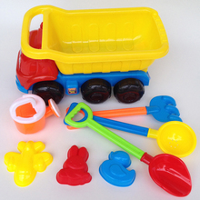 8pcs/set Medium-sized Plastic beach Truck Six-wheeled Truck Playing Water Sand Tools Educational Children Toys(China)