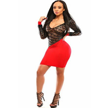 Cheap Sexy V Neck Long Sleeves Mini Dress Red Woman Sheer Club Short Dress Night Clubbing Dress Clothing L27805-1(China)