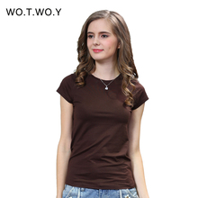 2016 New High Quality 18 Color Simple T Shirt Women Solid color Tees Plain Cotton short sleeve T-shirt Female Tops Black 0002