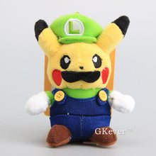 "High Quality Pikachu Cosplay Super Mario Bros Luigi Plush Pendant with Keychain Soft Stuffed Toy Dolls 5""12 CM Children Present"