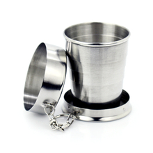 New 1Pcs Stainless Steel Folding Cup Travel Tool Kit Survival EDC Gear Outdoor Sports Mug Portable For Camping Hiking Lighter