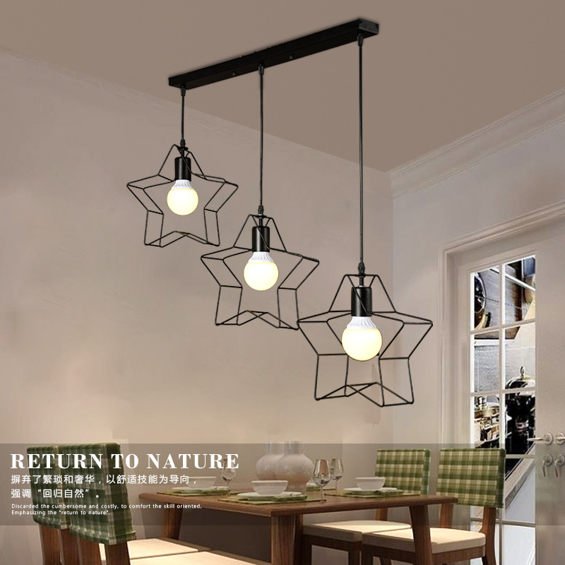 SinFull Minimalist Star Mini birdCage Pendant Lights Vintage Rustic Geometric iron Lamp Living Room black/white lighting<br>