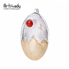 Artilady three-dimensional 925 sterling silver pendant vintage bird setting sun pendant for women jewelry christmas gift party(China)