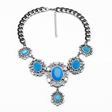 N00778 2014 Wholesale Summer Gunmetal Color Jewelry Women Pendant Fashion Acrylic Short Blue Necklace