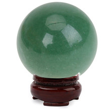 25mm Natural Green Aventurine Quartz Crystal Ball Healing Sphere + Stand Good Luck Home Ornaments Decorative Gift(China)