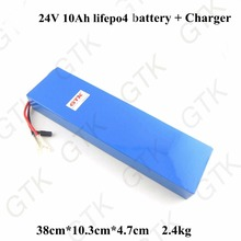 GTK lifepo4 24v 10ah lifepo4 battery pack 24V electric bike battery 24v 10ah lifepo4 battery pack ebike battery + charger(China)