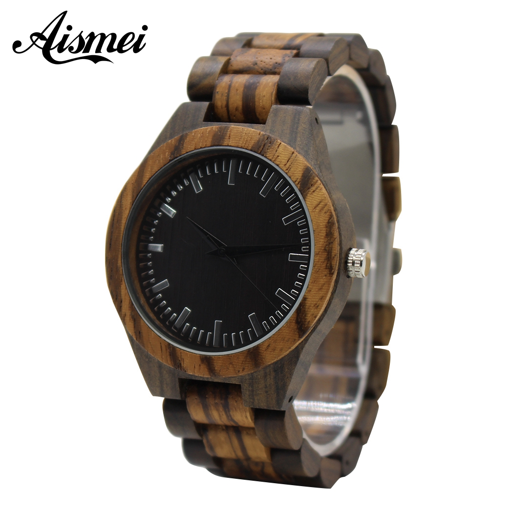 Aismei Mens Zebra pattern Wooden Watch with All Wood Strap Quartz Analog with Quality Miyota Movement gifts wristwatch relogio<br>