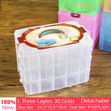 30 Grids 25cm Big Detachable Storage Boxes Bins Three layer Tools/Jewelry/Screw/Diamond/Nail Toy Desk Organizer Holder(China)
