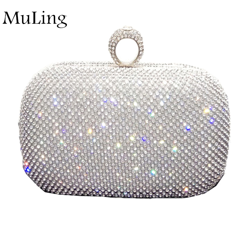 New Brand Fashion Real Diamond Dinner Package Evening Women Wallet Party Purses Bride Hand Bags Lady Clutche Mini Chain Bag Gold<br>