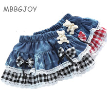 MBBGJOY 2-6Y Girls Plaid Skirt Baby Tutu Denim Jean Skirts Bow Bear Toddler Infant Short Cake Children Princess Summer Spring(China)