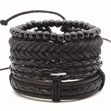 New Punk Vintage Rope Handmade Bead Woven Leather Men Bracelets Women Bangles Female Rock Homme Men Jewelry Accessories 4pcs/set