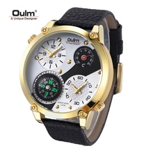 TEAROKE Oulm Men Wristwatch Quartz Watch Genuine Leather Dual Time Zone Male Military Sports Clock Compass Thermometer Big Dial
