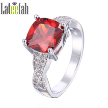 Lateefah Victorian Wieck Birthstone Rings for Women Cushion Cut Created Garnet Cubic Zirconia Infinity Ring Female Anel Bijoux