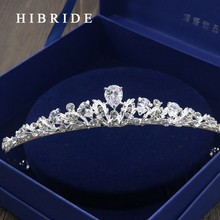 HIBRIDE AAA CZ Tiara King Crown Wedding Hair Jewelry Real White Gold Color Headpiece Bridal Accessories HC00018