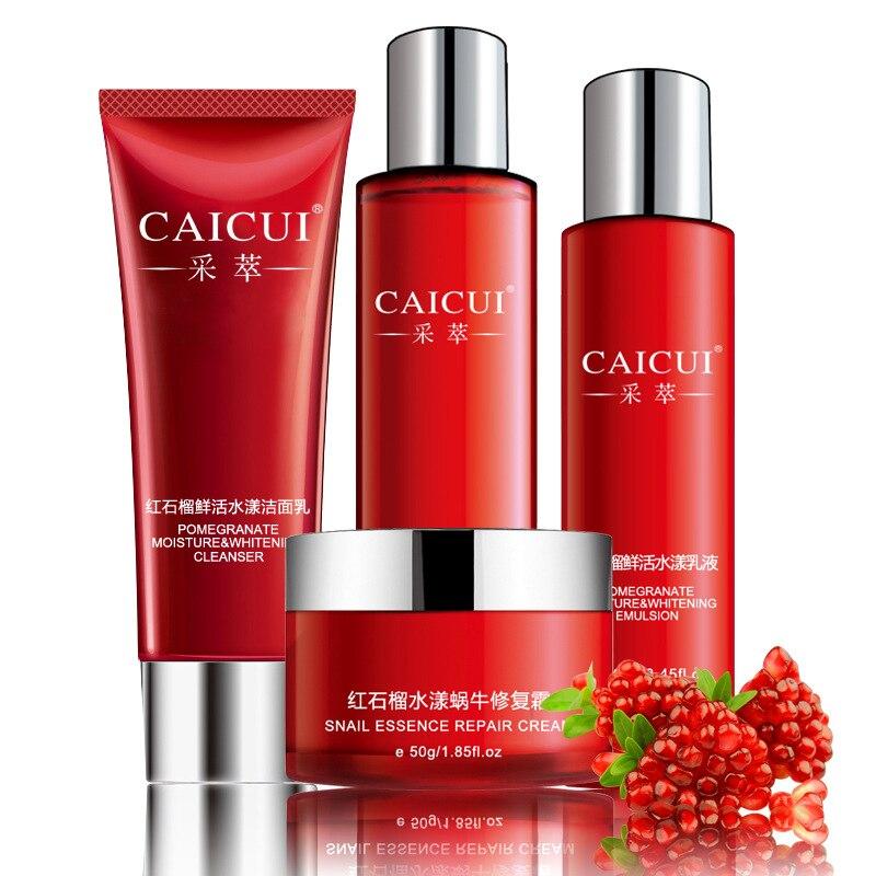 Skin Care Set Pomegranate Snail Essence Facial Cream+Cleanser+Lotion+Toner 4pcs/set Moisturizing Whitening Shrink Pores<br>