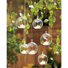 Ball Globe Shape Clear Hanging Glass Vase Flower Plants Terrarium Vase Container Micro Landscape DIY Wedding Home Decoration