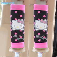 2Pcs Hello kitty Automobile Safety Car Seat Belt Shoulder Pad Cartoon Cover Auto Car Accessories Harness Pad Child Restraints