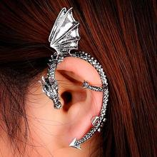 H:HYDE 1pc 2017 New Punk jewelry Antique Silver Color Punk Temptation Metal Dragon Bite Ear Cuff Clip Wrap Earring Gifts