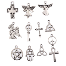 Buy 13 style Plated Tibetan Silver Peace symbol Angel etc Religious series charms Pendants fit bracelet DIY Jewelry making 10pcs/lot for $1.09 in AliExpress store