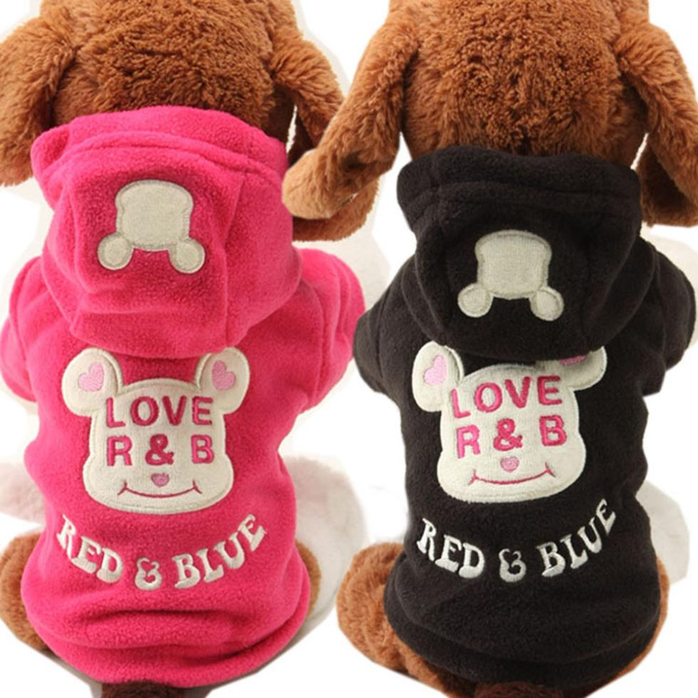 2017 New Small Dog Pet Clothes Cute Cartoon Bear Hoodie Warm Sweater Puppy Coat Apparel