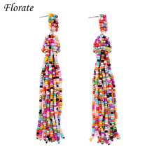 Florate Chunky Colorful Bead Tassel Earrings For Women Statement Silver Plated Dangle Handmade Bohemian Design Earrings Online(China)