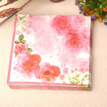 20 pcs/bag romantic New table napkins paper tissue servilletas decoupage  print flower pattern  party cocktail Home decoration