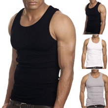Muscle Men Top Quality 100% Premium Cotton A-Shirt Wife Beater Ribbed Tank Top(China)