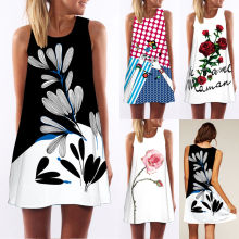 Buy Summer Women Clothing Sleeveless Summer Beach Short Mini Dress Fashion Casual Flower Printed O-Neck Dress for $4.29 in AliExpress store