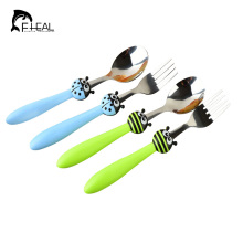 FHEAL 2pcs/set Cute Portable Travel Kids Adult Cutlery Ladybug Bee Fork Spoon Camping Picnic Set Dinnerware