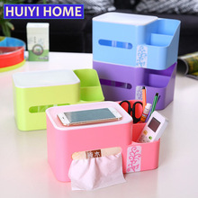 Huiyi Home Tissue Storage Boxes Remote Control Holder Desk Organizer Multifunction Plastic Office Pumping Paper Container EGL032(China)